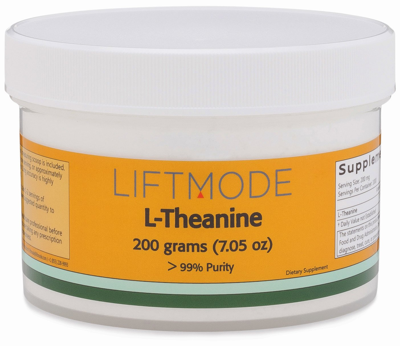 LiftMode L-Theanine Powder Supplement - for Focus, Stress Relief, Weight Loss, Pre Workout | Vegetarian, Vegan, Non-GMO, Gluten Free - 200 Grams (1000 Servings)