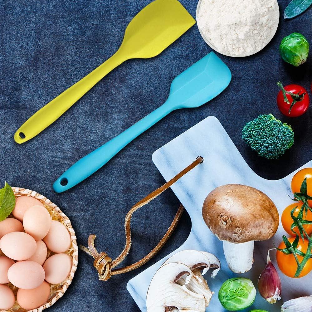 Spatole in Silicone 9 Pezzi Spatola Pasticceria Resistente al Calore Antiaderenti Utensili da Cucina con Anima in Acciaio Inossidabile per Cucinare Cuocere e Miscelare con 9 Ganci a S