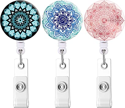 Retractable Badge Holder Carabiner Reel Clip On Id Card Holders A, 3 Pcs Mandala Vertical with Horizontal Badge Holder