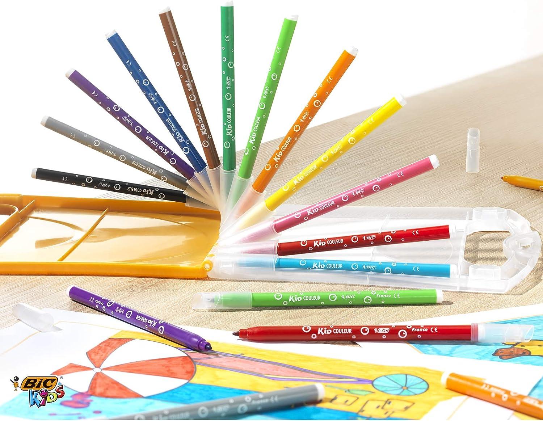 BIC Kids Kid Couleur rotuladores punta media - colores Surtidos, Estuche de 12 unidades: Amazon.es: Oficina y papelería
