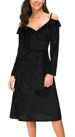 DGMYG Women s V Neck Velvet Strap Dress Long Sleeve A line Midi Cocktail  Party Dresses S 42b4c2cc7