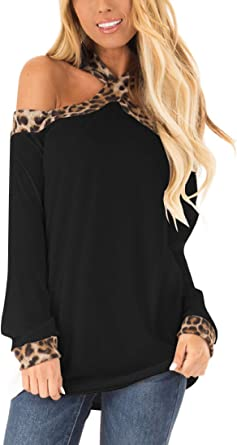 Women/'s Long Sleeve Shirt Ladies Off-The-Shoulder Club Party Tunic Tops Blouse
