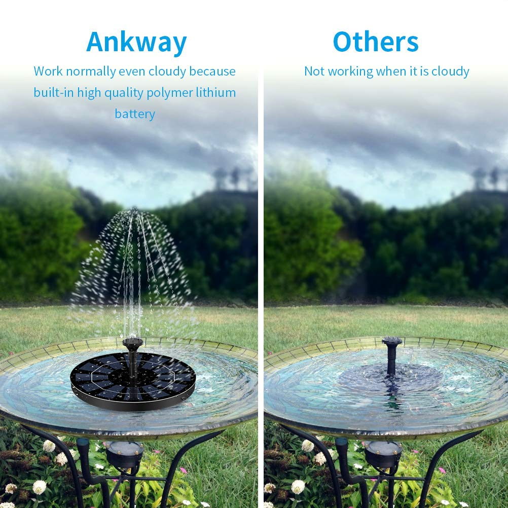 Solarbetriebene Wa 2019 Ankway Solar Springbrunnen Pumpe mit eingebautem Akku