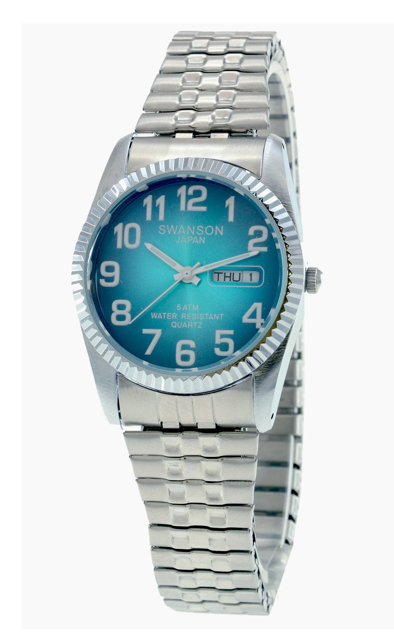 Swanson Japan Men's Silver Expansion Band Smooth Turquoise Vignette Numbers Dial Watch with Travel Case