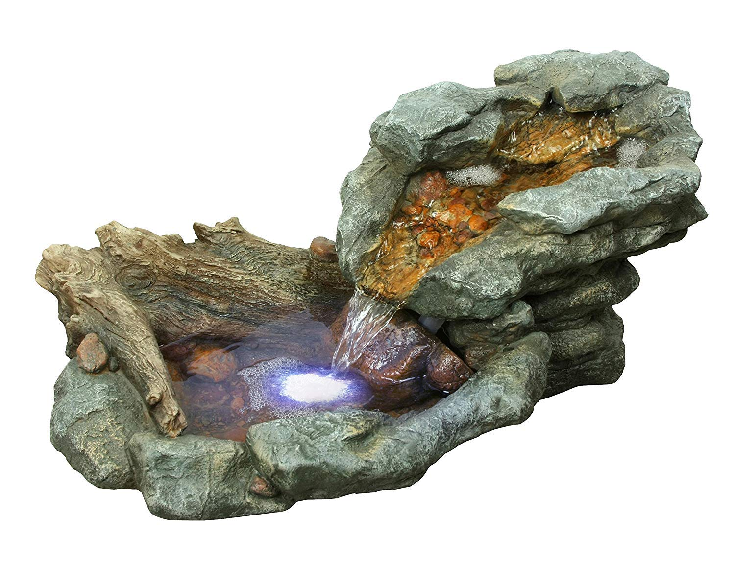Alpine 4-Tiered Rock Fountain W/LED Lights, 40