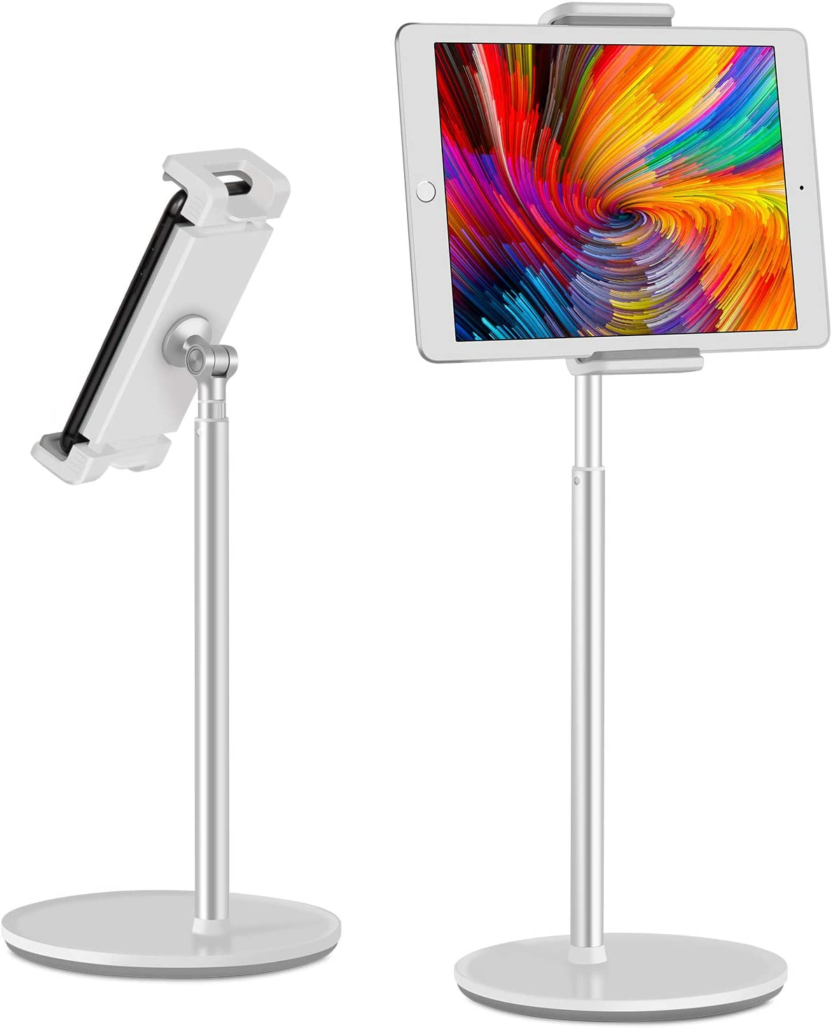 """viozon Tablet Phone Stand Holder, Height 360 Degree Angle Adjustable, Aluminum Desktop Stand, Compatible with 4.5-6.5"""" Cellphone and 7-13"""" Tablet Such as iPhone iPad Pro Air Mini, Samsung, Kindle"""