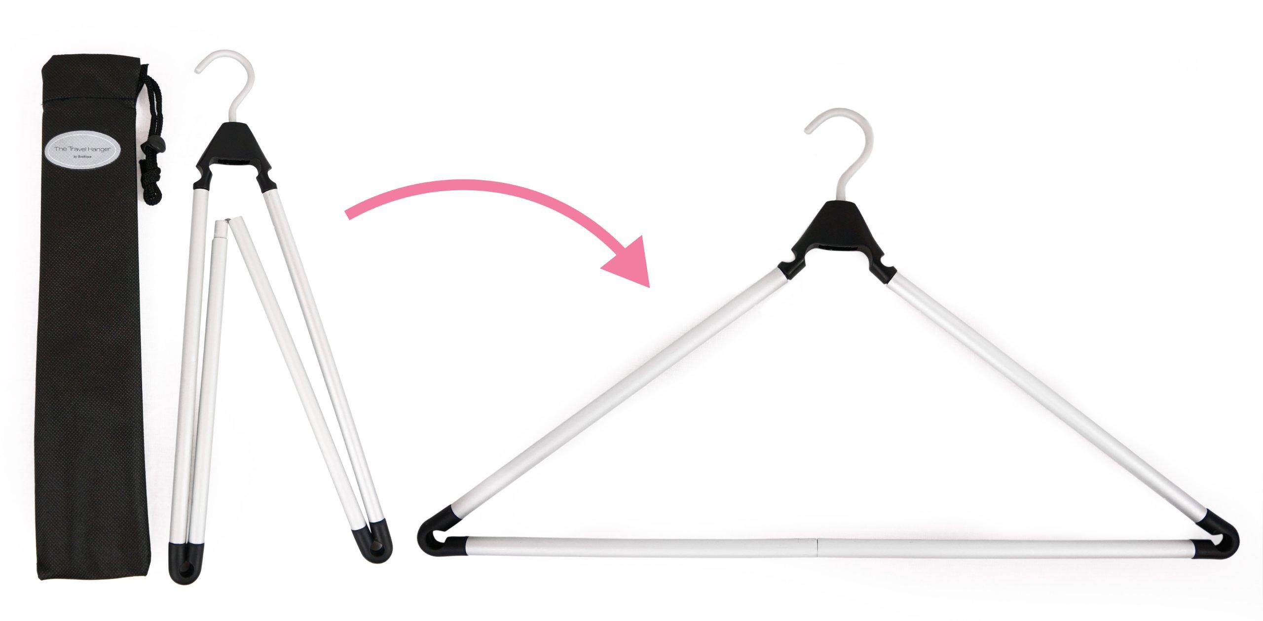 Travel Hanger, Car Hanger, Clothes Hanger- Foldable Hanger, Folding Hanger, Collapsible Hanger, Portable Hanger (Matte Silver & Black) (2) by Boottique (Image #4)