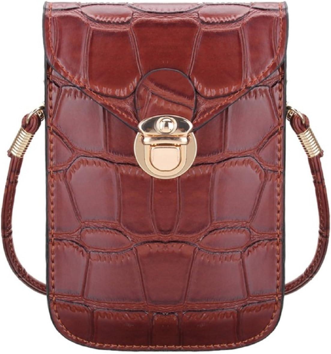 Damen Tasche Umhängetasche Clutch Handy Stern Braun Kunstleder