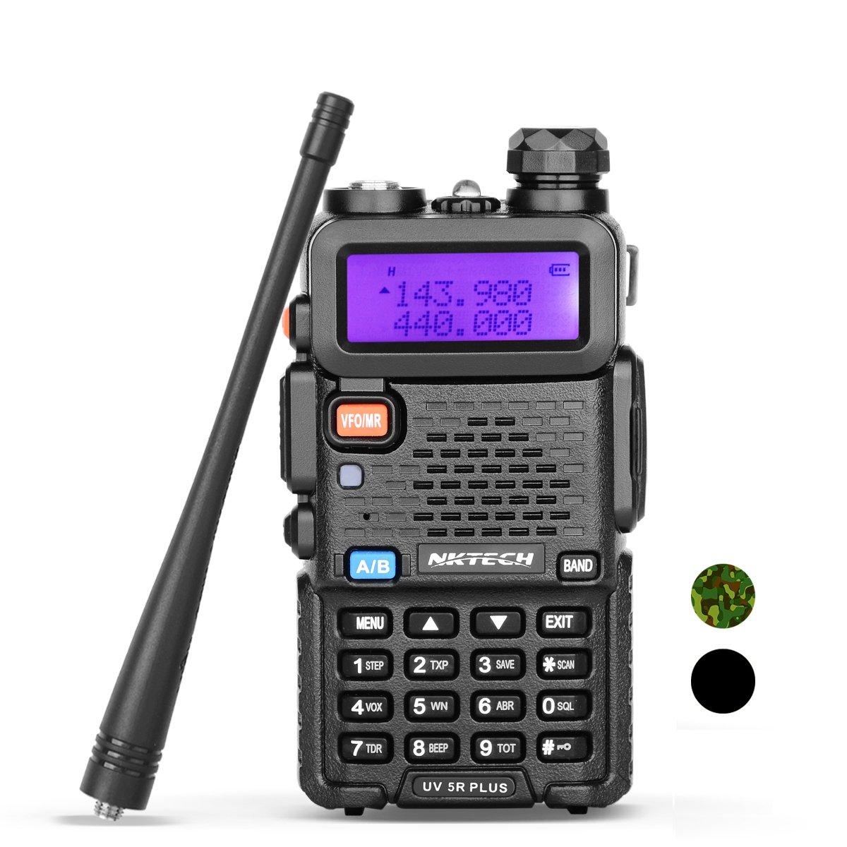 NKTECH UV-5R Plus VHF UHF Tri-Power High Mid Low 8W 4W 1W Dual Band 136-174/400-520MHz PTT FM Two Way Radio Ham Transceiver Walkie Talkie Free Earpiece Warranty