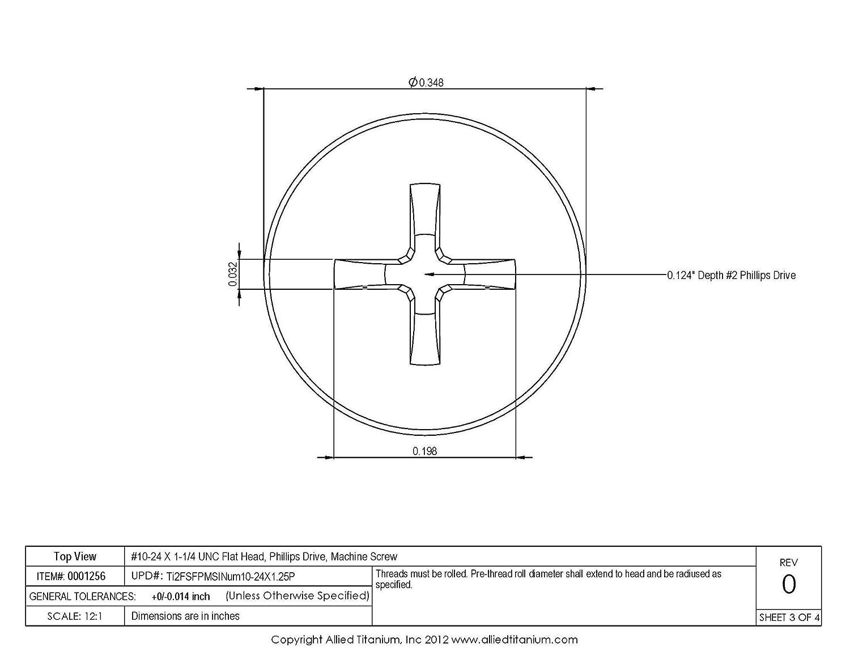 Inc CP Titanium Machine Screw Grade 2 Pack of 20 #10-24 X 1-1//4 UNC Flat Head Allied Titanium 0001256, 611627001 Phillips Drive