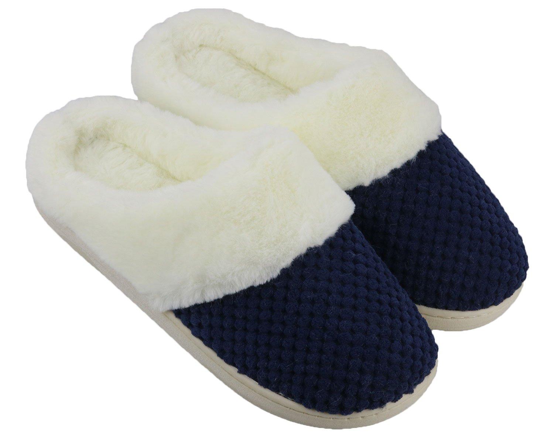Lifekit Women's Memory Foam Slippers Soft Faux Fur Lined Indoor House Slippers w/Anti-Skid Rubber Sole