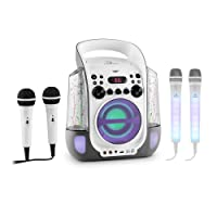 auna Kara Liquida und Dazzl Mic Set • Karaoke-Anlage • Karaoke-System • Karaoke-Set • Multicolor-LED-Lichteffekt mit Wasserfontäne • MP3 • USB-Port • Bluetooth • Echo-Effekt • A.V.C-Funktion • grau