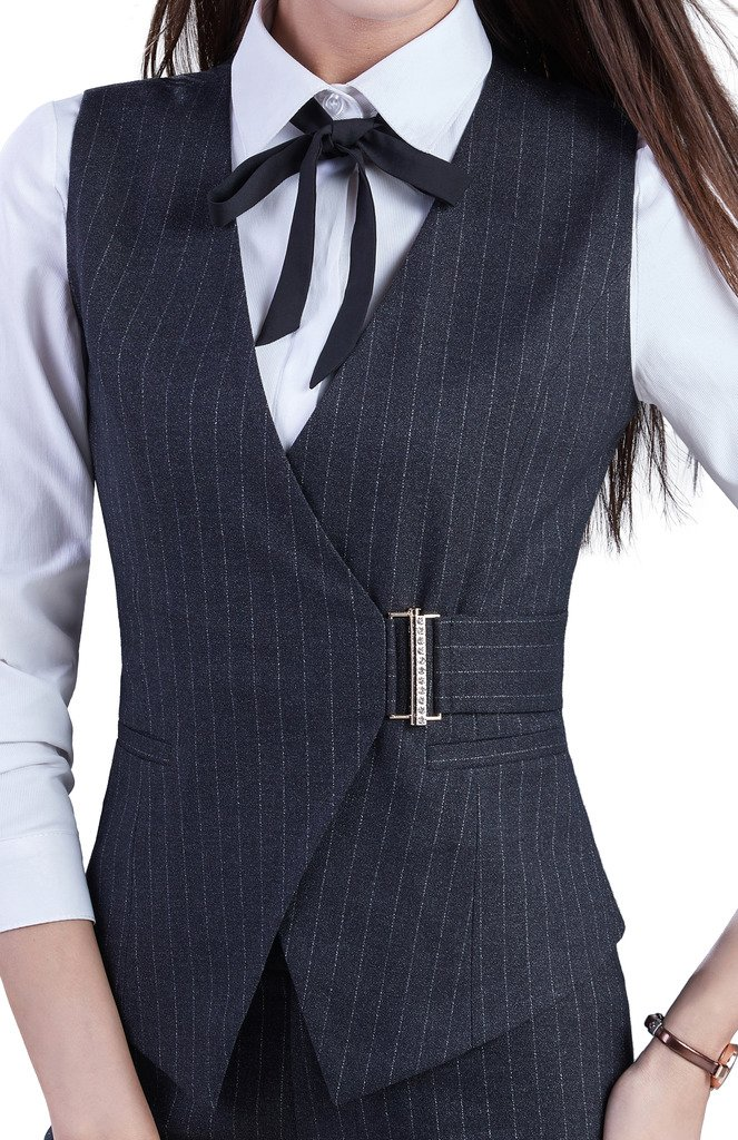 Vocni Women's V-Neck Fully Lined Sleeveless Slim Fit Pinstripe Casual Suit Vest Waistcoat Black Pinstripe US M - Asian XXL
