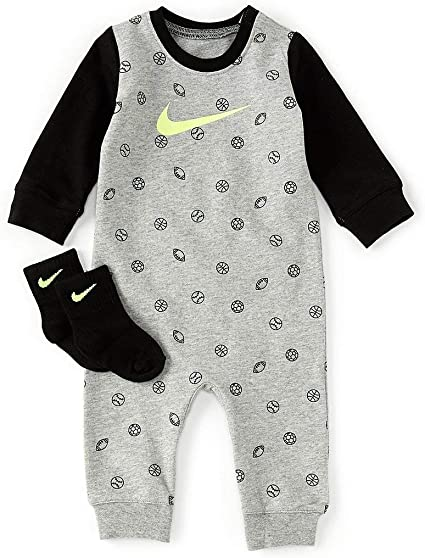 Nike Baby Strampler Grau Schwarz