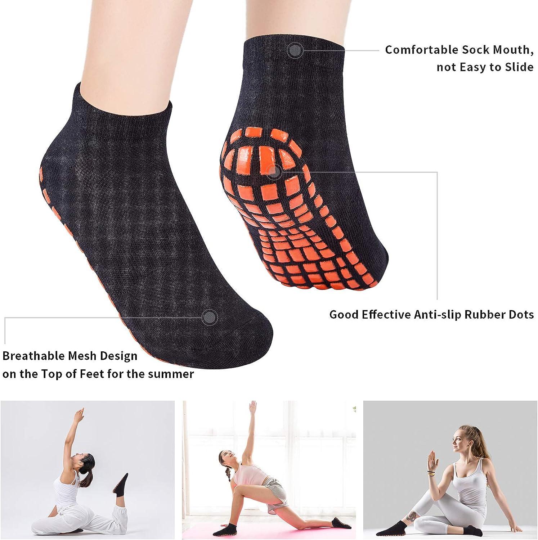 SMILESLIM Non Slip Yoga Socks for Adults Man Women Ideal Yoga Pilates Barre Trampoline Anti-skid socks (2pairs): Clothing