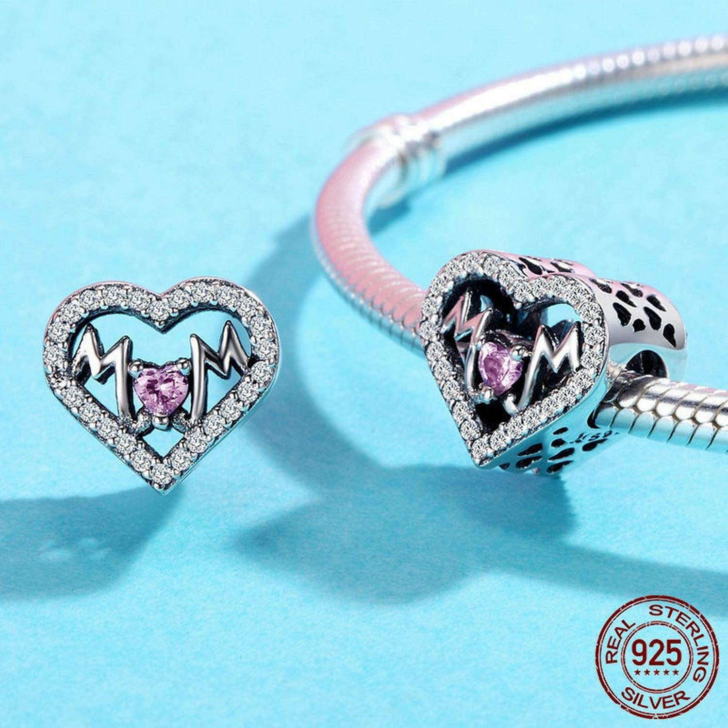 EverReena Mother Mum Heart Love Charm Silver Beads Bracelets