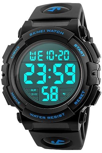 Reloj digital deportivo de hombre joven Cronómetro 5 ATM resistente al agua grandes hombres reloj de pulsera Negro Azul: Amazon.es: Relojes