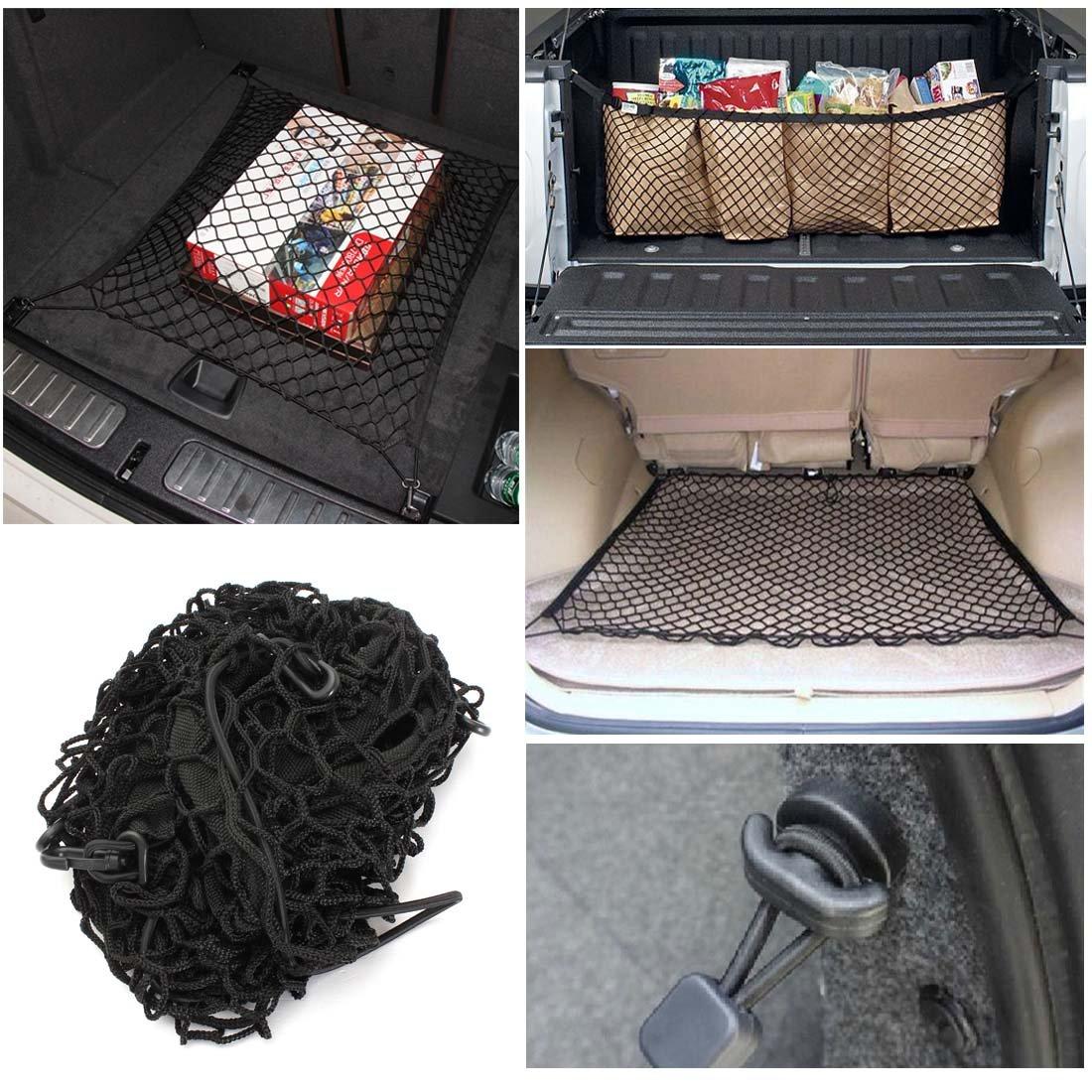 2/points de fixation/-/Organiseur de coffre de rangement Rangement pour voiture universel Grand /élastique Flexi Cargo Net Filet de s/écurit/é 70/x 70/cm