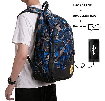 Laptop Mochila con Puerto de carga USB,BSTcentelha Tres piezas set adolescentes mochilas escolares lona estampados mochila Hombres 15 Pulgadas ordenador ...