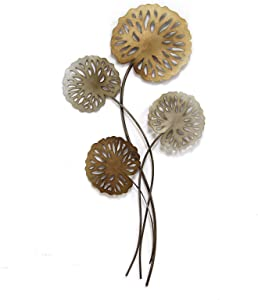 Stratton Home Decor SHD0183 Water Lilies Wall Decor, 17.25 W X 2.25 D X 35.25 H, Multi Metallic