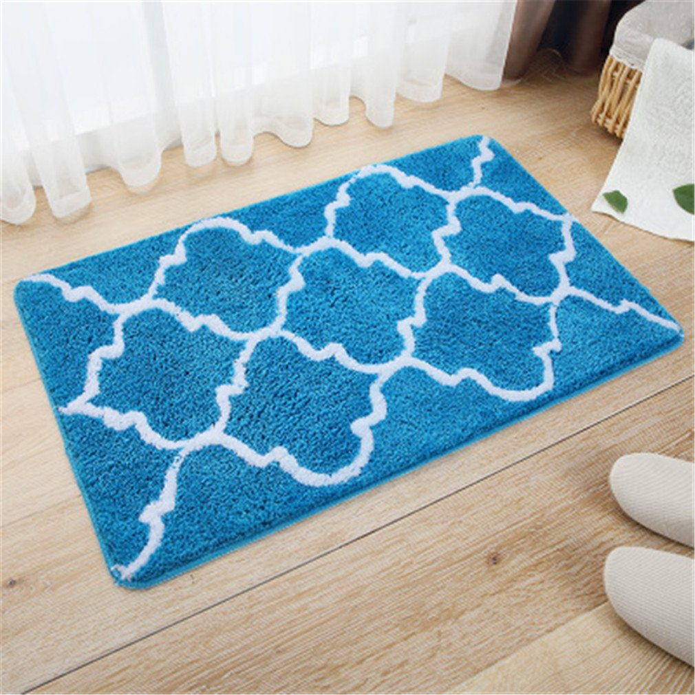 Carpet Bedroom Quatrefoil Rectangle Velvet Suede Mat Tapetes De Cozinha Home Decoration Blue 50x80cm