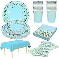 24 Invitados Platos Desechables Cumpleaños Azul Platos y Vasos Desechables Biodegradables Servilletas Pajitas Mantel…