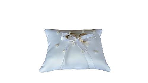 Cojin alianzas boda porta alianzas cojin anillos boda tela blanca perlas blancas y lazo de arpillera para sujetar los anillos medidas 15x12 cm.