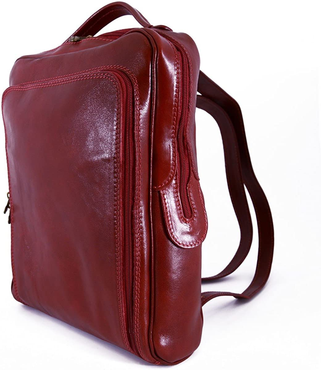 Man Genuine Leather Backpack with Front Zipped Pocket Color Red