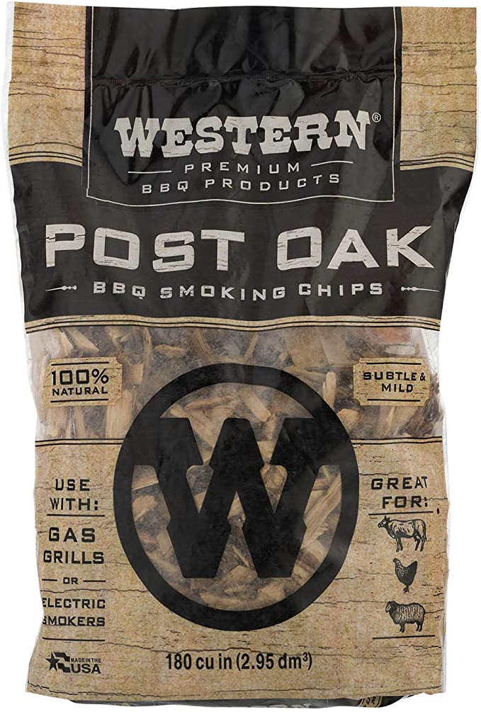 180 Cubic Inches Western BBQ Products Post Oak Barbecue Cooking Chips 6 Pack