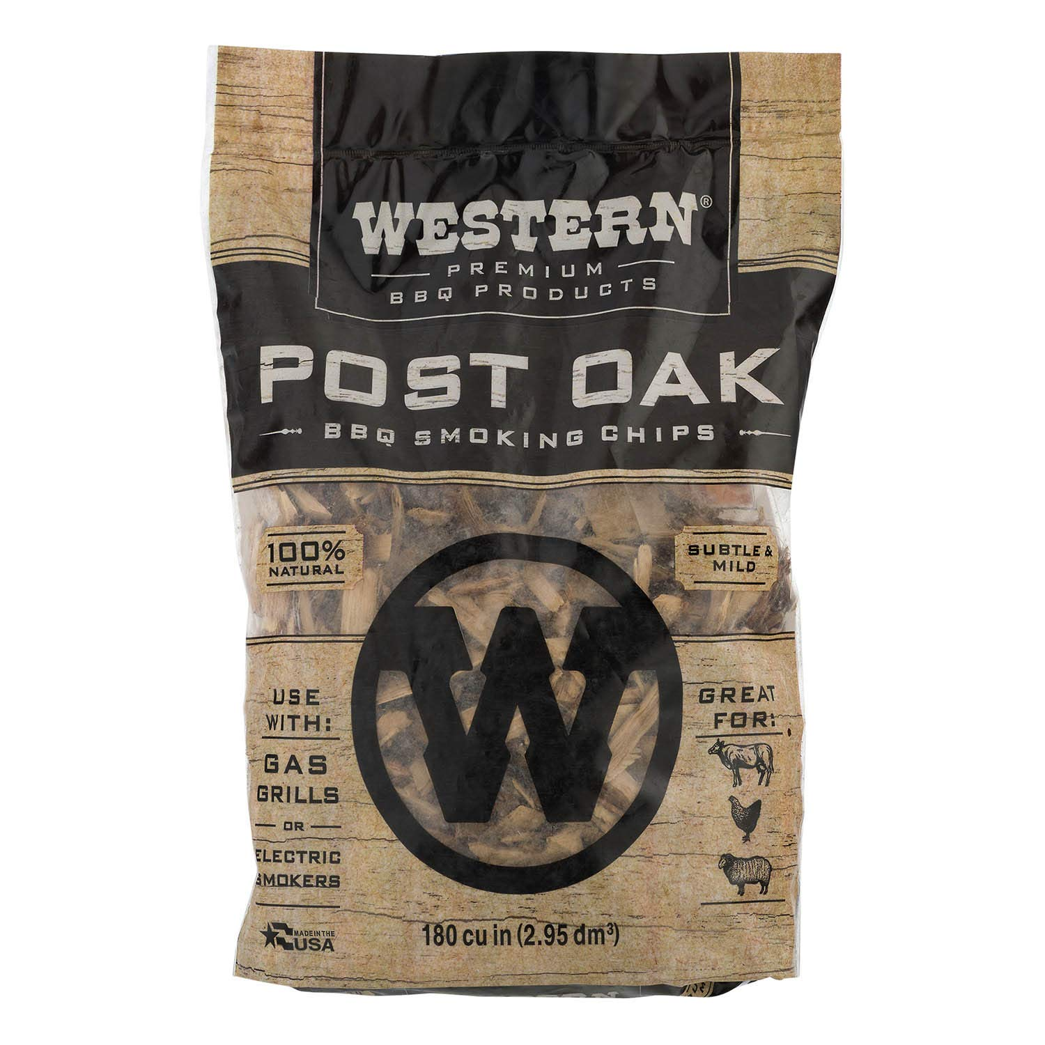 WESTERN 78057 Premium BBQ Products Post Oak Cooking Chunks, 570 cu inch Food