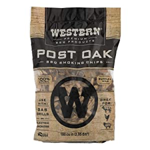 WESTERN 78077 Premium BBQ Products Post Oak Smoking Chips, 180 cu inch
