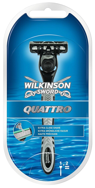 Wilkinson Sword Quattro - Cargador de 4 cuchillas de afeitar masculinas de cuatro hojas 7007094E