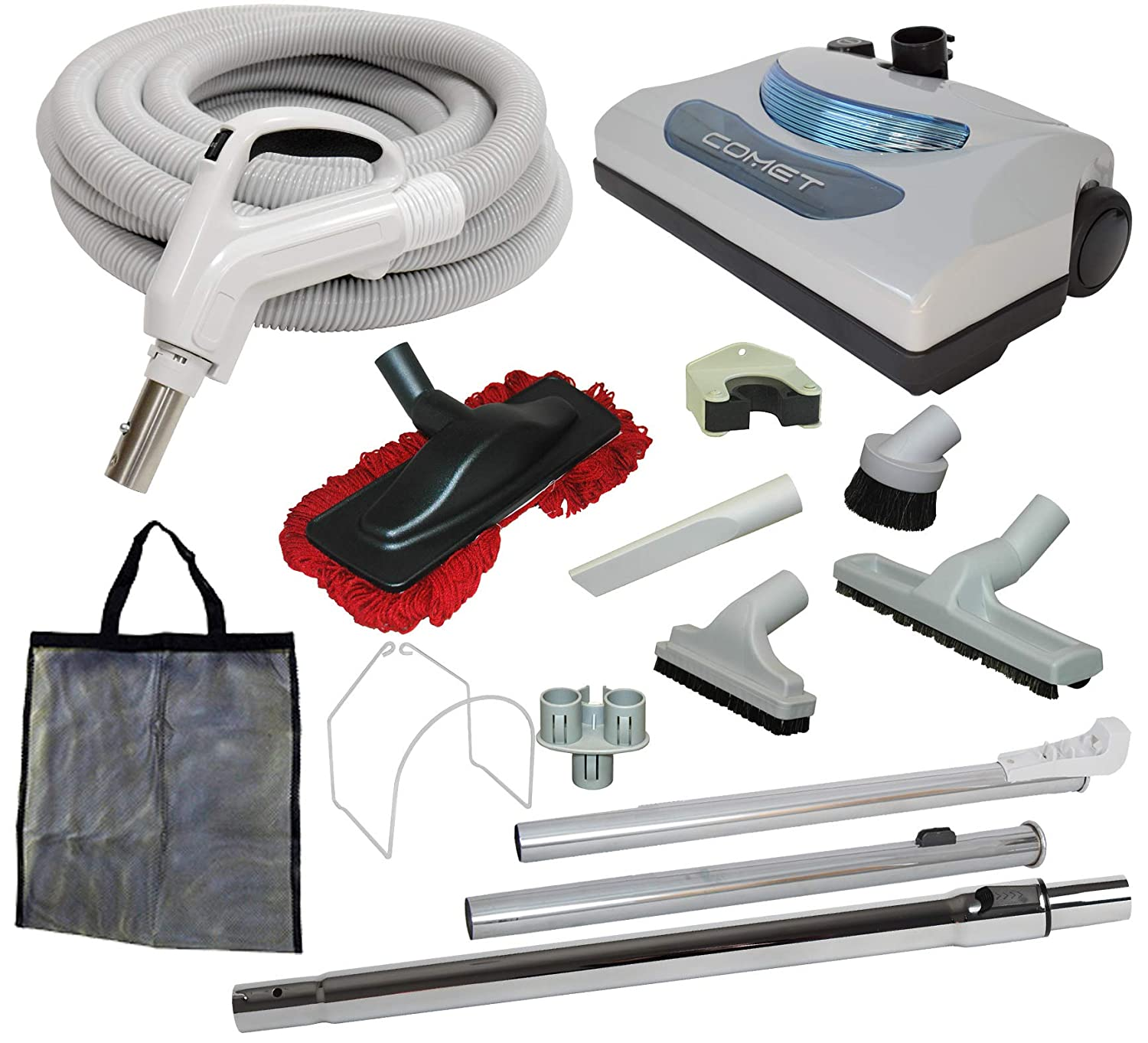 "35' ""Comet"" Central Vacuum Kit with Hose, Power Head & Tools - Works with All Brands of Central Vacuum Units"