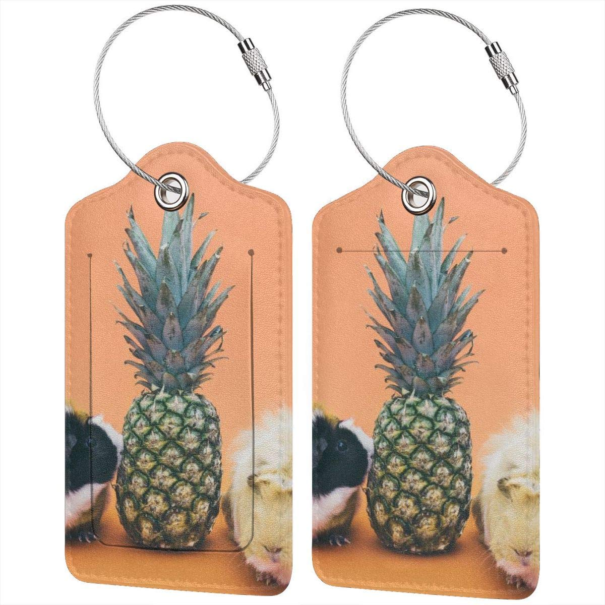 Pineapple Guinea Pig Travel Luggage Tags With Full Privacy Cover Leather Case And Stainless Steel Loop