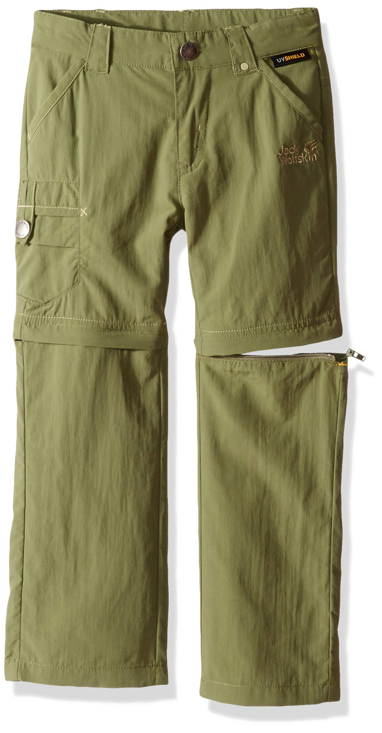Jack Wolfskin Safari Zip Off Pants K Pants, 140 (9-10 Years Old), Woodland Green