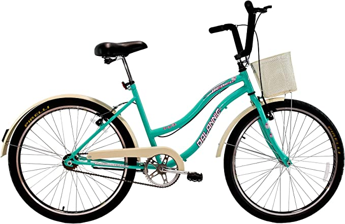 Bicicleta Aro 26 Retrô Vintage Feminina Beach Sem Marcha Azul Turquesa