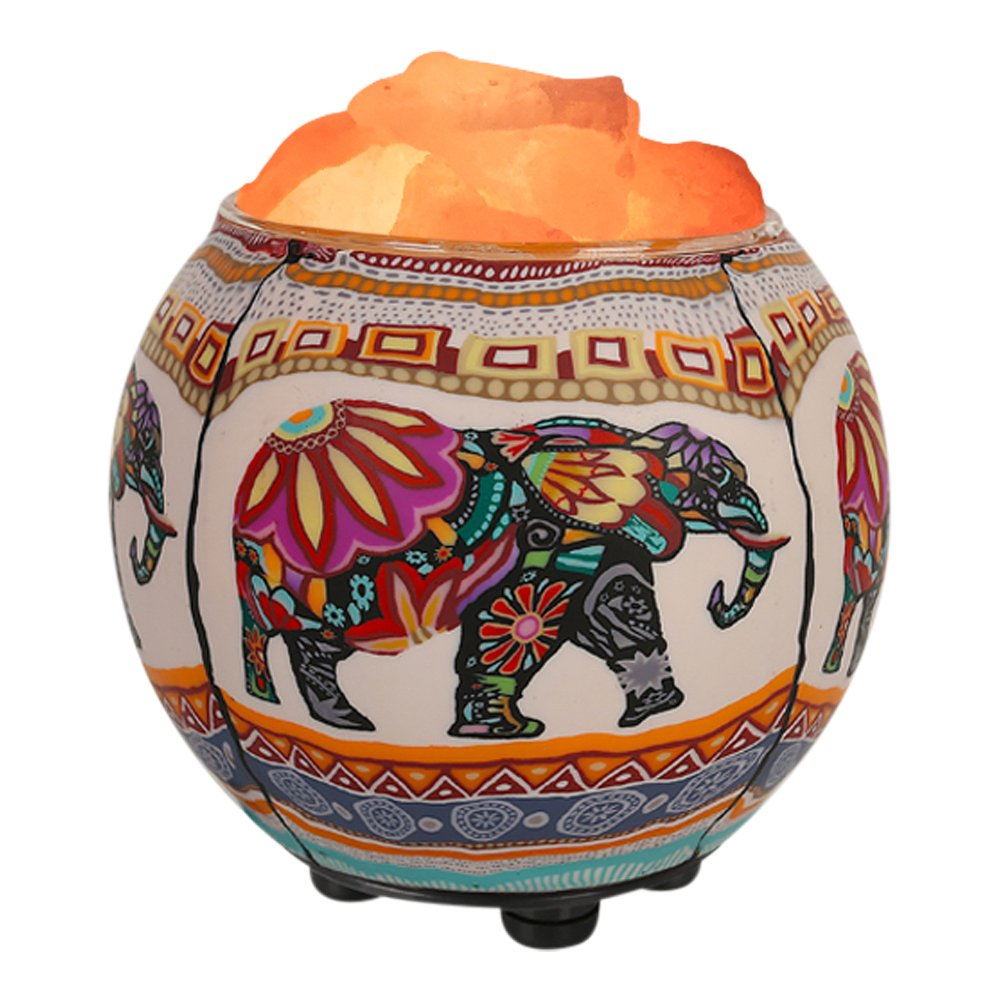 Himalayan CrystalLitez Himalayan Salt Lamp with Dimmer Cord,Pure Salt Crystals in A Handcrafted and Glowing Artisan Bowl, Air Purifier and Aromatherapy Salt Lamp Upgraded Designs (Ethnic Elephant)