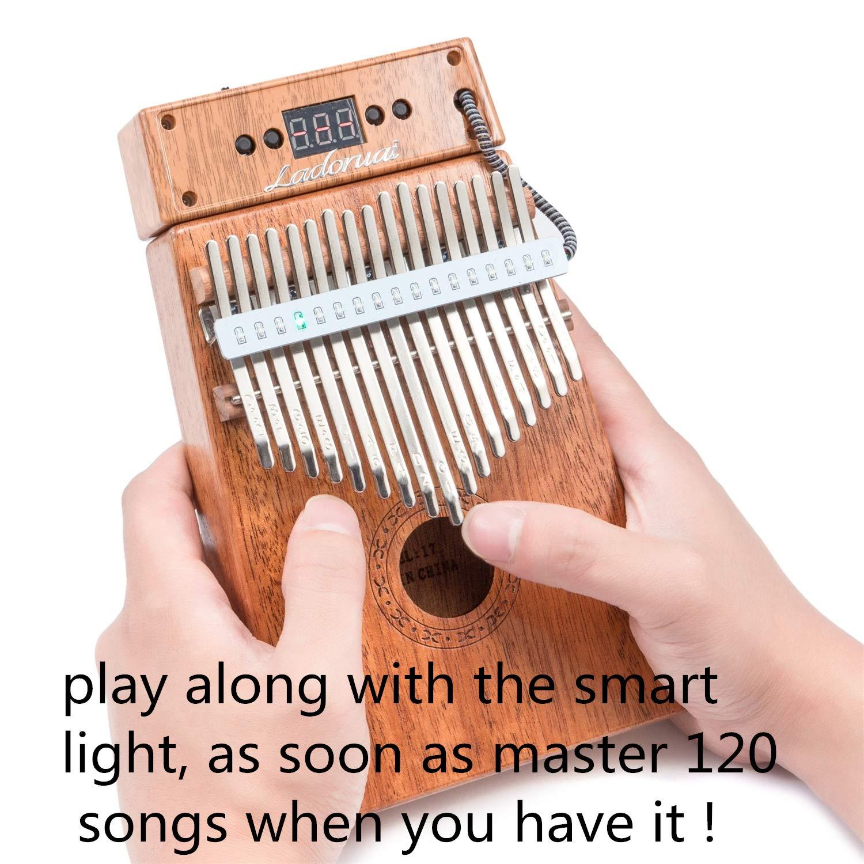 Ladoruai 17 key Kalimba, Smart Illuminated Thumb Piano, Tuning Hammer and Study Instruction(120 songs option) by ladoruai (Image #2)
