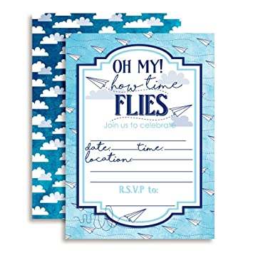 Amazon paper airplane time flies themed birthday party paper airplane time flies themed birthday party celebration fill in invitations set of 10 filmwisefo Choice Image