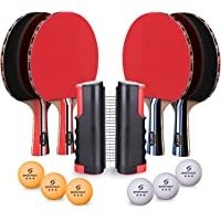 Sportout 4 Player Ping Pong Paddle Set, Table Tennis Paddle Set with Retractable Net, Balls and Portable Case, Perfect for Home Indoor or Outdoor Play