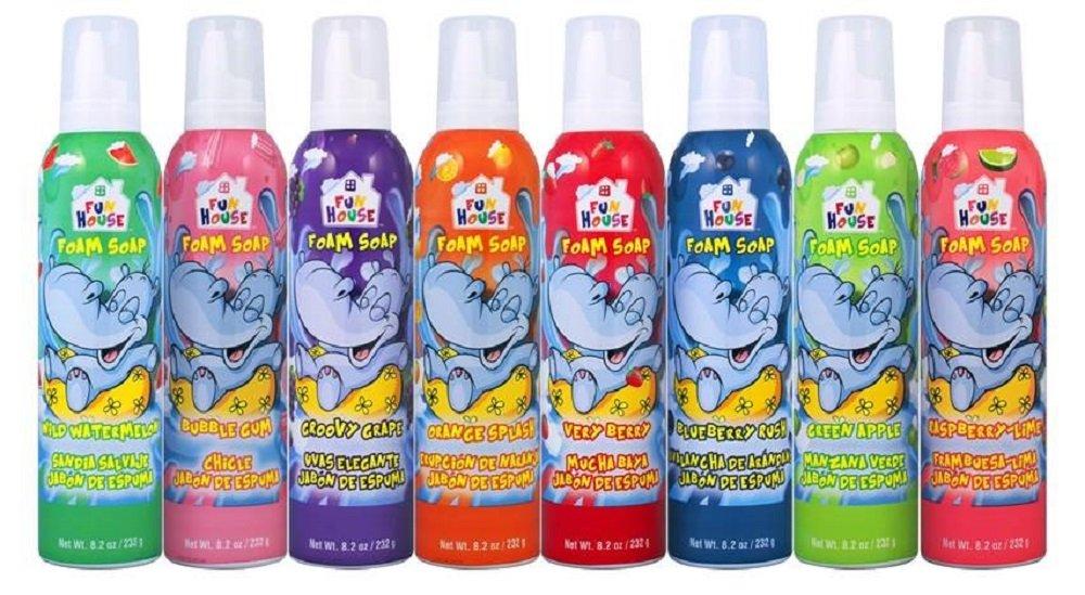 Moneysworth & Best Fun House Kids Foam Soap 8 Pack Assorted Flavor Foam Soap, 8.2 oz Each