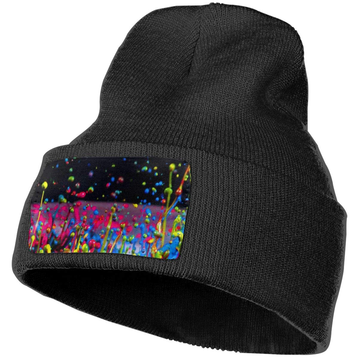 Colorful Raindrops Hat for Men and Women Winter Warm Hats Knit Slouchy Thick Skull Cap Black