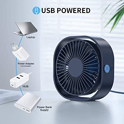 Small Personal Fan Desk Nightstand Tabletop Travel Car Mini Air Cooler Quiet