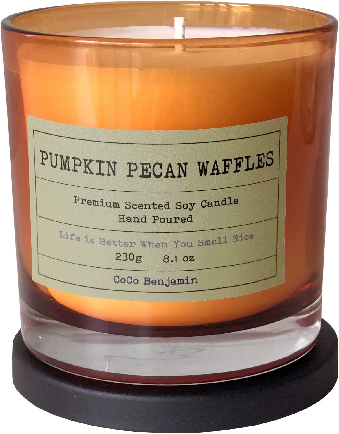 Soy Candle, Highly Scented, Hand Poured, 8.1 oz (Pumpkin Pecan Waffles)