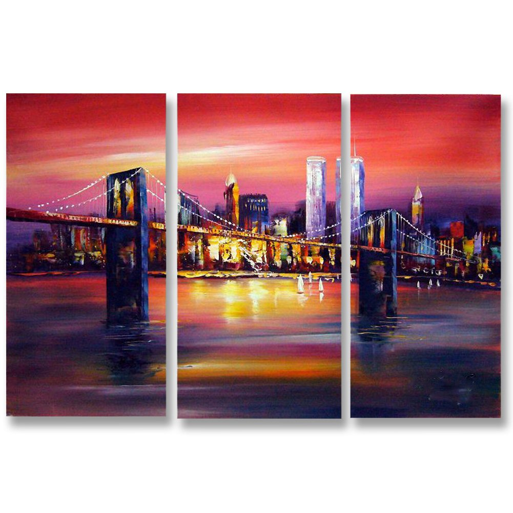Hand Painted Split Canvas Paintings Abstract Unframed 3 Pieces - 72X48 inch (183X122 cm) for Living Room Bedroom Dining Room Wall Decor To DIY Frame Home Decoration by Neron Art