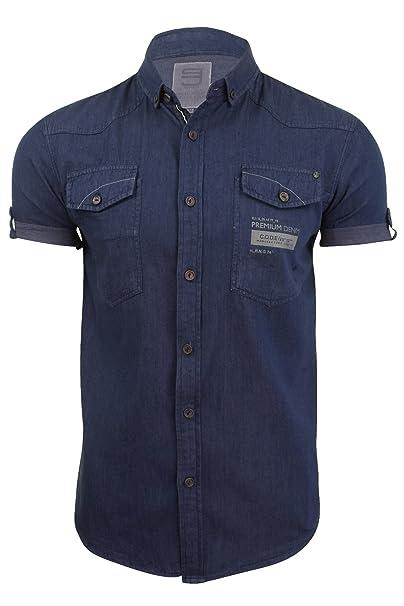 Smith y Jones para hombre tela vaquera camiseta de manga corta Azul azul oscuro Small: Amazon.es: Ropa y accesorios