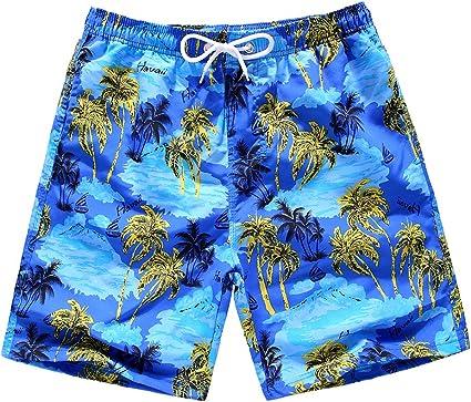 FUIBENG Little//Big Boys Swim Shorts Quick Dry Beach Shorts Kids Swim Trunks with Mesh Lining