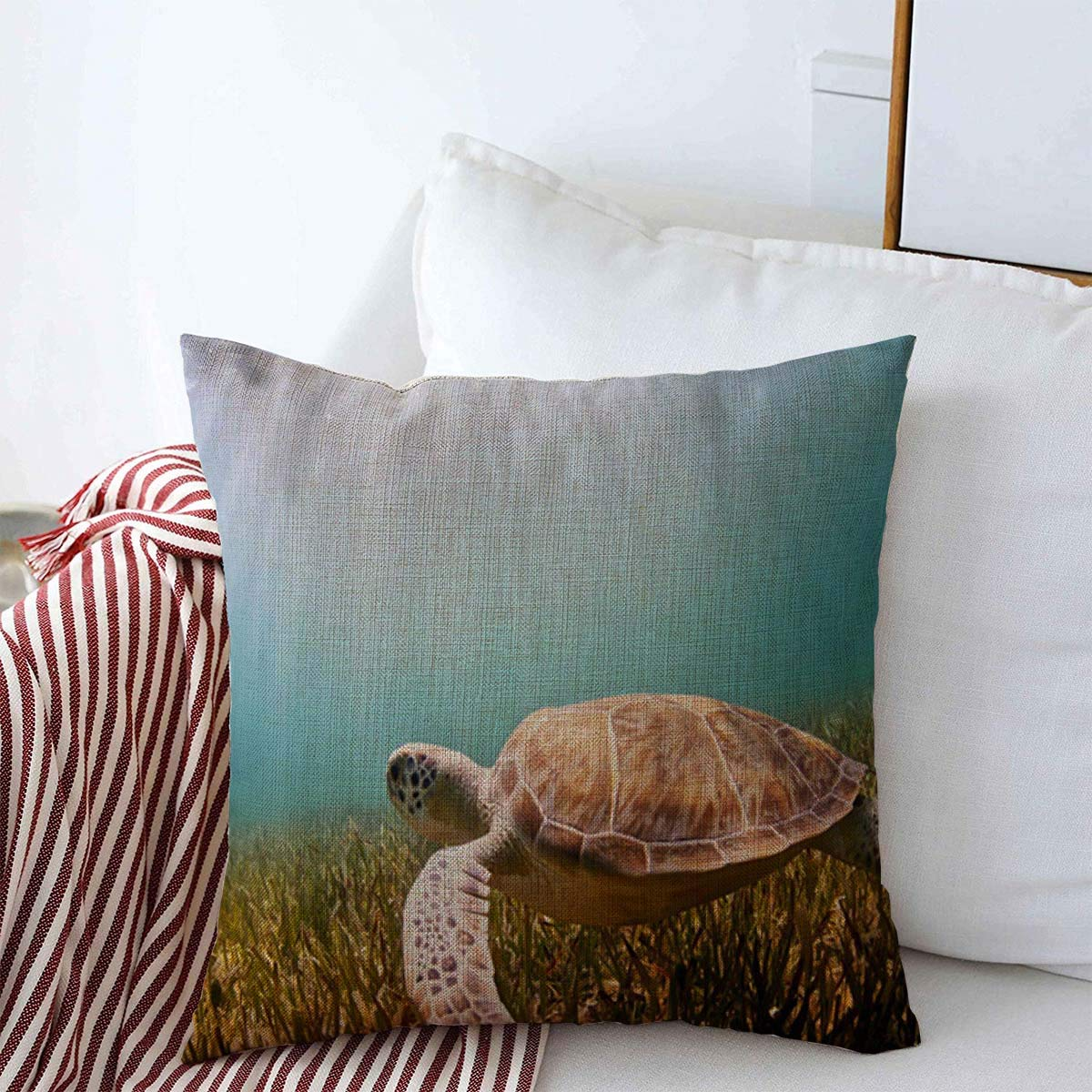 Throw Pillows Covers Cushion Case Summer Blue Aquatic Green Turtle Swimming Over Sea Grass Adventure Clea Design Cotton Linen for Fall Couch Home Decor 16 x 16 Inches