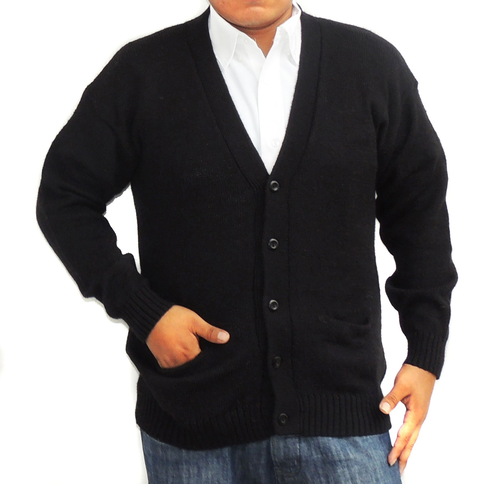 CELITAS DESIGN Alpaca Cardigan Golf Sweater Jersey V neck buttons and Pockets made in Peru Black M