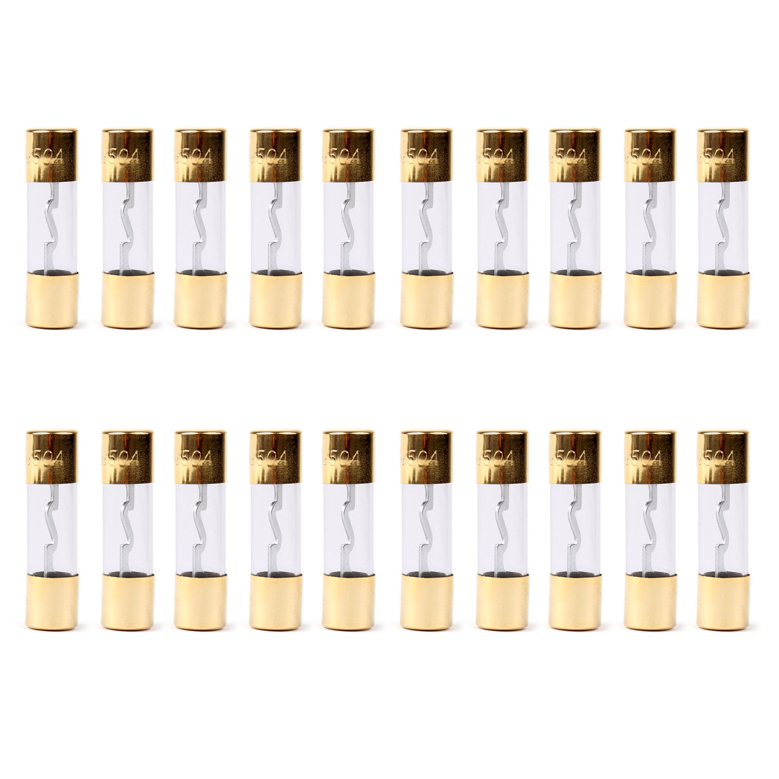 Areyourshop 20Pcs AGU Fuse Car Audio Power Safety Protection Glass Tube Gold Plated 50A
